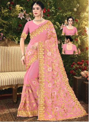 Pink Net Embroidered Trendy Saree