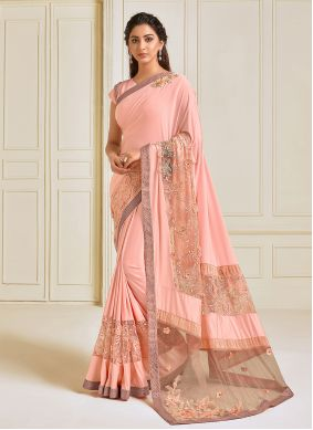Pink Sequins Lycra Trendy Saree