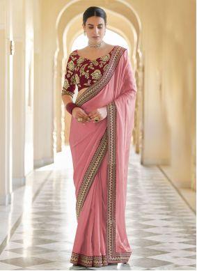 Pink Sequins Organza Classic Designer Saree