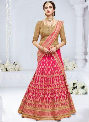 Pink Stone Work Art Silk Lehenga Choli