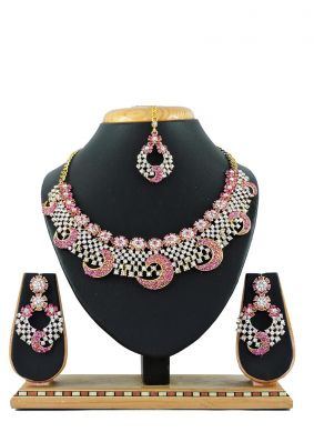 Pink Stone Work Party Necklace Set