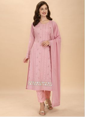 Pink Thread Work Georgette Pant Style Suit