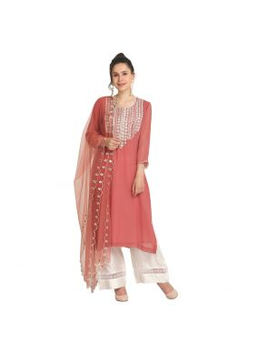 Pink Viscose Mehndi Party Wear Kurti