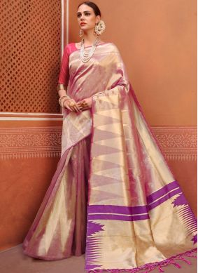 Pink Weaving Art Silk Designer Traditional Saree