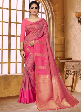 Pink Weaving Fancy Fabric Traditional Saree