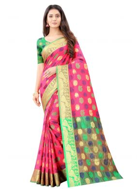 Pink Weaving Festival Traditional Saree