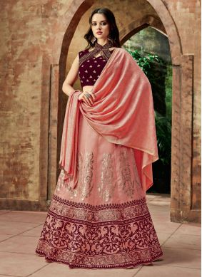 Pink Wedding Art Silk Lehenga Choli