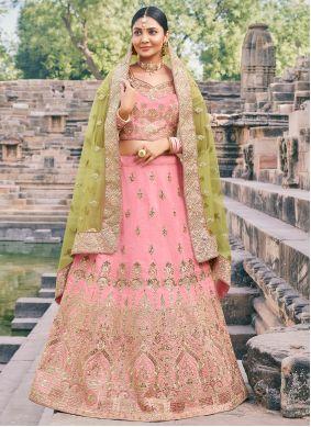 Pink Wedding Handloom silk Lehenga Choli