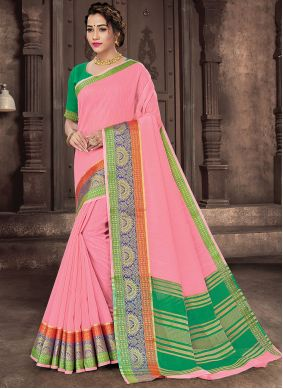 Pink Woven Reception Traditional Saree