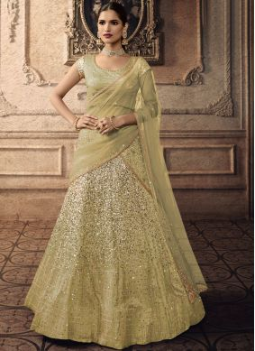 Piquant Green Embroidered A Line Lehenga Choli