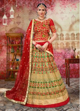 Piquant Net Lace Beige and Red Lehenga Choli