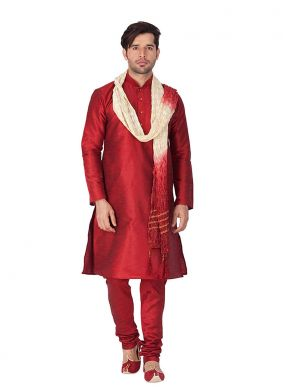 Plain Art Dupion Silk Kurta Pyjama in Maroon
