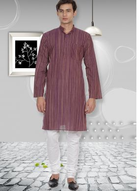 Plain Cotton Kurta Pyjama in Aqua Blue and Purple