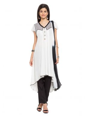 Plain Cotton Off White Readymade Salwar Kameez