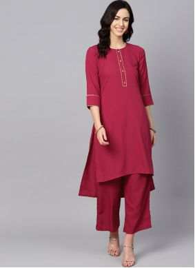 Plain Faux Crepe Pink and Red Casual Kurti