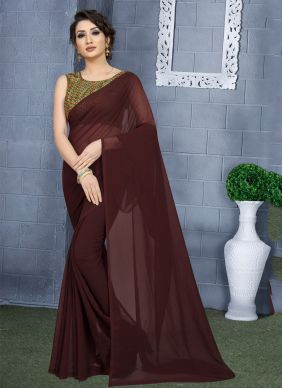 Plain Faux Georgette Casual Saree in Brown