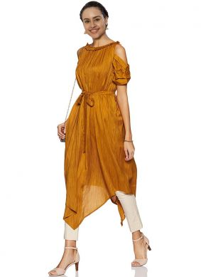 Plain Mustard Fancy Fabric Party Wear Kurti