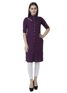 Plain Purple Casual Kurti