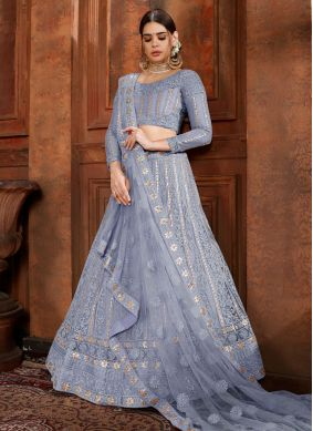 Pleasance Net Embroidered Blue Designer Lehenga Choli