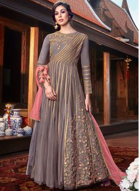 Pleasance Net Resham Floor Length Anarkali Suit
