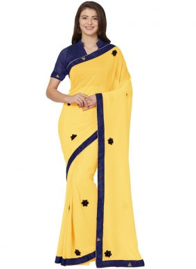 Pleasing Yellow Patch Border Faux Chiffon Saree