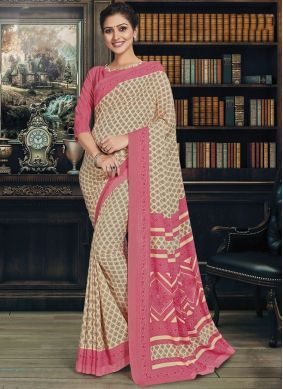 Polly Cotton Beige Casual Saree