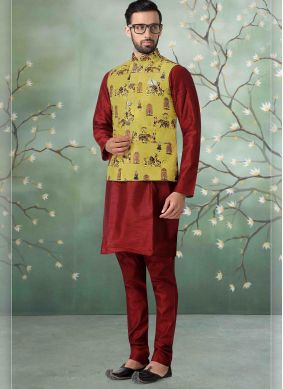 Polly Cotton Kurta Payjama With Jacket in Maroon