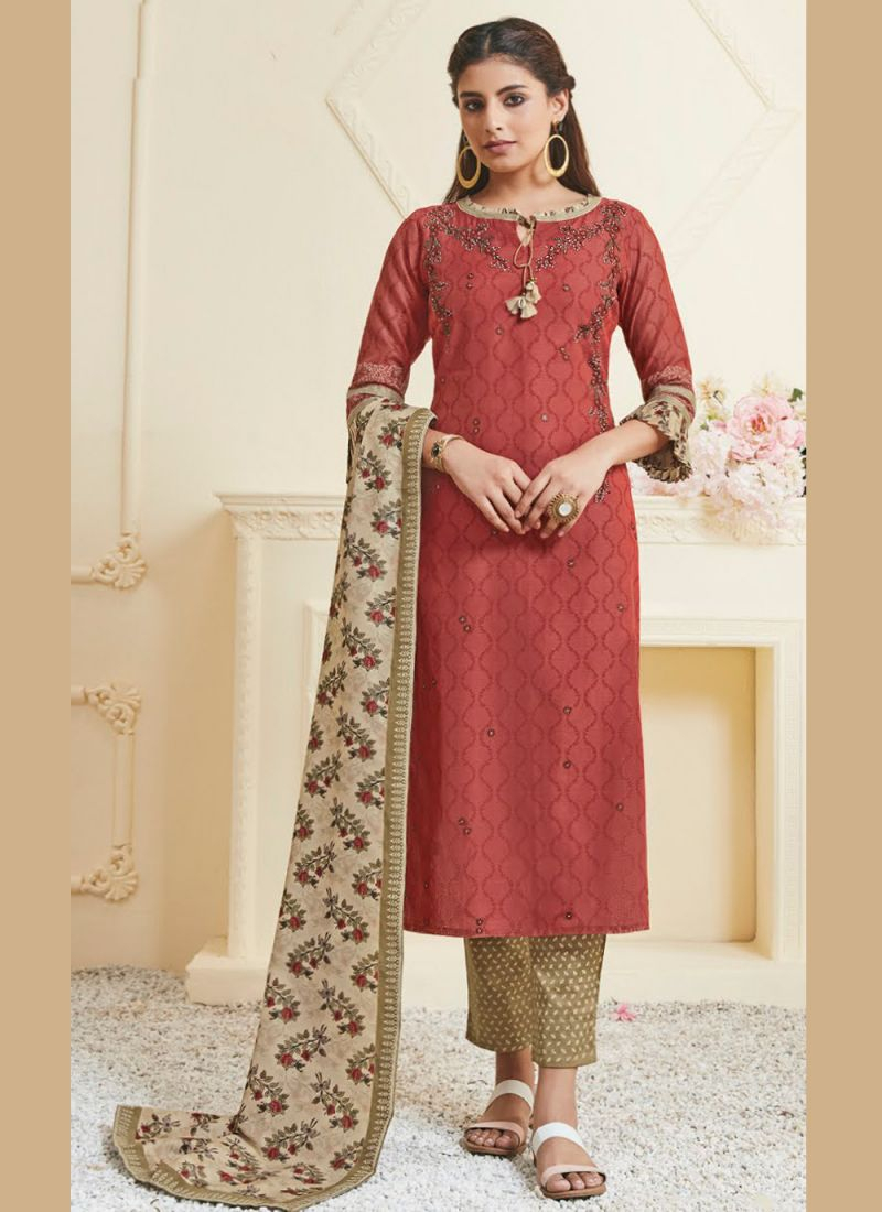 Polly Cotton Salwar Suit in Rust
