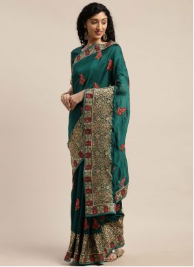 Poly Cotton Patch Border Traditional Saree in Teal