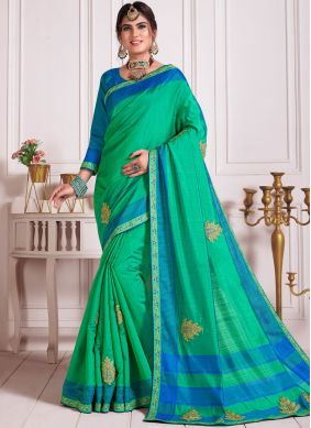 Poly Silk Aqua Blue and Green Classic Designer Saree