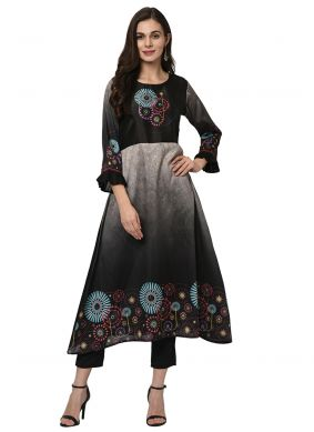 Poly Silk Casual Kurti in Black