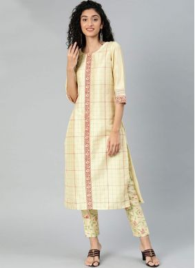 Poly Silk Cream Printed Casual Kurti