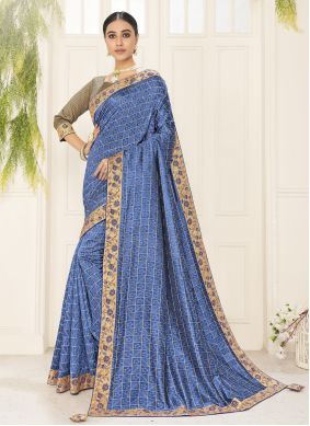 Poly Silk Embroidered Blue Traditional Saree