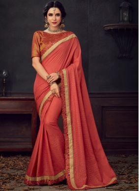 Poly Silk Embroidered Maroon Saree