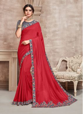 Poly Silk Embroidered Red Silk Saree