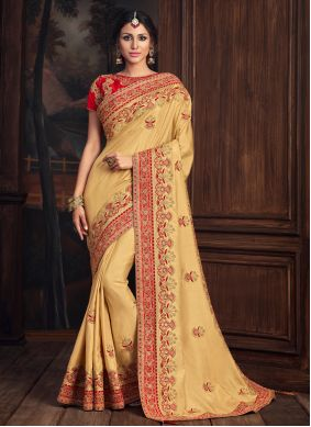 Poly Silk Gold Embroidered Designer Traditional Saree