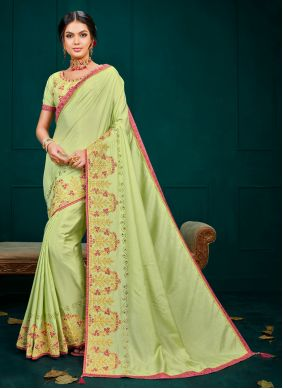 Poly Silk Green Embroidered Traditional Saree