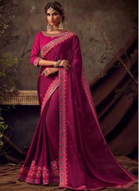 Poly Silk Maroon Embroidered Traditional Saree