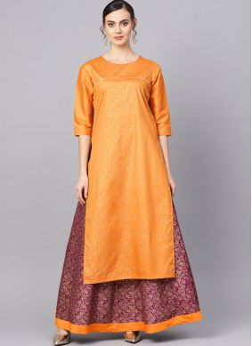 Poly Silk Mustard Party Wear Kurti