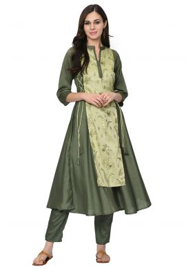 Poly Silk Party Wear Kurti in Green