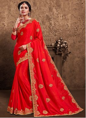 Poly Silk Patch Border Designer Saree in Red