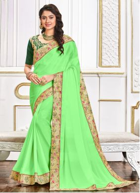Poly Silk Patch Border Traditional Saree in Green