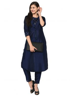 Poly Silk Plain Casual Kurti in Black