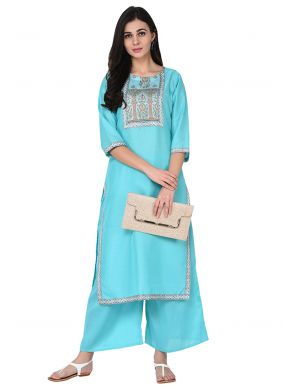 Poly Silk Print Turquoise Party Wear Kurti
