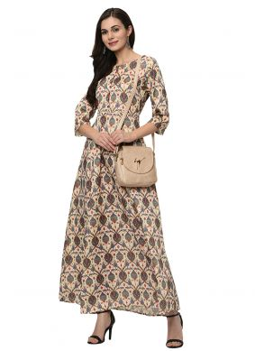 Poly Silk Printed Casual Kurti