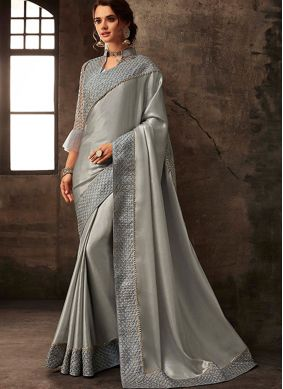 Poly Silk Silver Border Trendy Saree