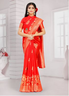 Poly Silk Weaving Red Traditional Saree