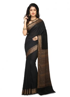 Praiseworthy Black Weaving Art Banarasi Silk Designer Traditional Saree