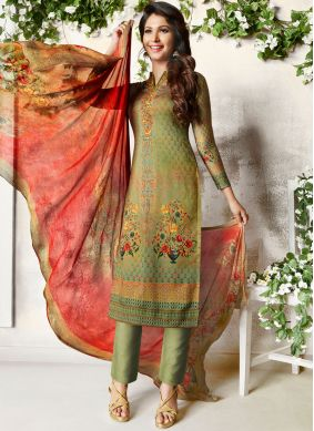 Praiseworthy Cotton Satin Multi Colour Abstract Print Churidar Designer Suit
