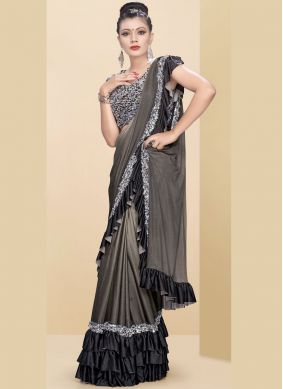Praiseworthy Fancy Fabric Beige and Grey Embroidered Classic Saree